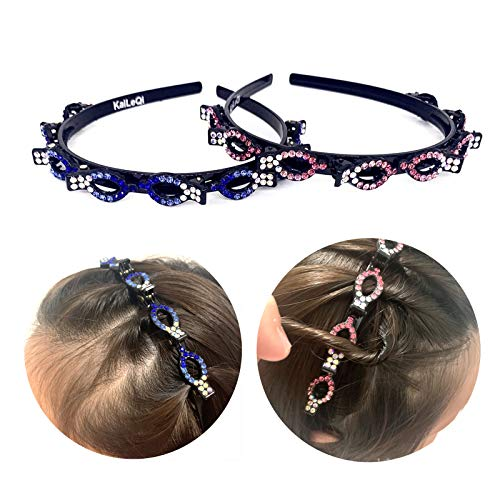KaiLeQi Rhinestone Fashion headbands for women hair accessories for girls women,double bangs hairstyle hairpin headband Korean braided headbands with clips twist headbands hair tools