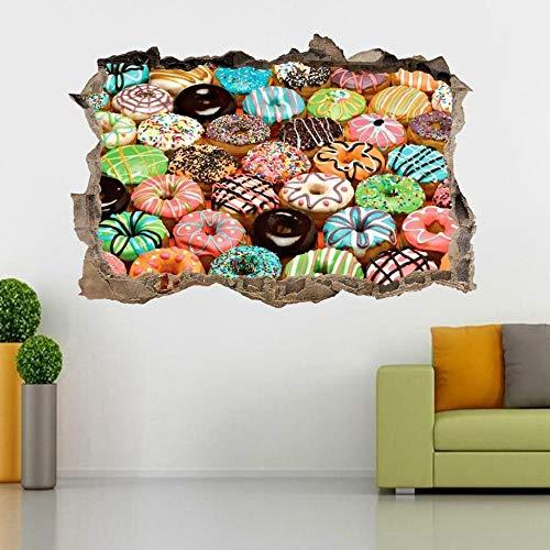 Etiqueta De La Pared 3D -Donuts Smashed Wall Sticker Decal Cocina Decoración Para El Hogar Arte Mural Vinilos Pared, Decoracion Hogar 80x125cm