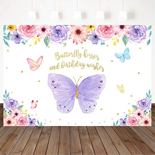 Mocsicka Butterfly Kisses Birthday Wishes Backdrop Purple Flowers Butterfly Birthday Party Decorations 5X3ft Vinyl Butterflies Girl Birthday Party Banner Photography Background