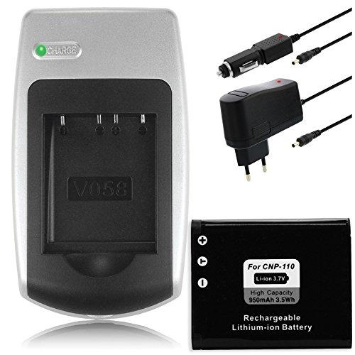 Batteria + Caricabatteria NP-110 per Casio Exilim EX-Z2000, Z2300, Z3000, ZR10, ZR15, ZR20.+ vedi lista!