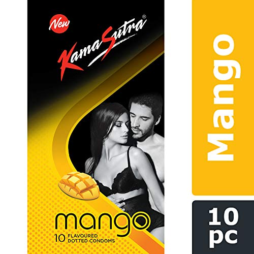 KamaSutra Mango Flavoured Condoms for Men | Tempting Flavour with Dotted Texture | Made with Natural Rubber Latex | Lubricated Condoms | Excite/Flavour Series | 10 Mango Dotted Condoms