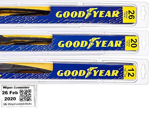 Windshield Wiper Blade Set/Kit/Bundle for 2008-2019 Toyota Highlander - Driver, Passenger Blade & Rear Blade & Reminder Sticker (Premium with Goodyear Rear)