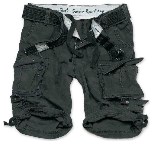 Surplus Division Shorts gewaschen, Black camo, L