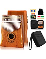 Kalimba 17 Keys Thumb Piano - Portable Mbira Sanza Finger Piano with Protective Case, Tuning Hammer, Study Instruction Gift for Kids Adult Beginners