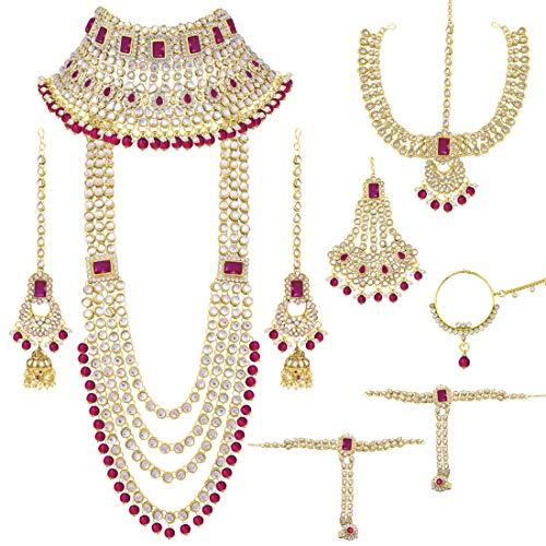 Aheli Conjunto de joyería de novia de estilo indio tradicional de Bollywood con pendientes de gargantilla, Maang Tikka Hathphool para mujer