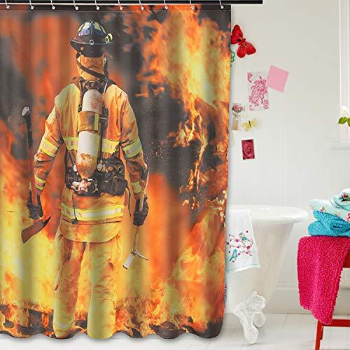 ILS – Heimdekoration für das Badezimmer, Design Feuerwehr, Duschvorhang aus wasserdichtem Polyester