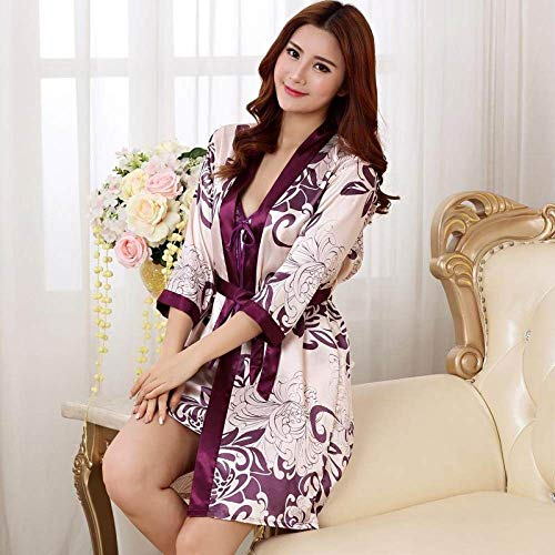Sexy Nachthemd Für Damen,2 Pcs Satin Nachtwäsche Rayon Lila Print Casual Nachthemd Kimono Nachthemden Casual Camisole Babydoll Bademantel Für In Flitterwochen Home Kleidung, L.