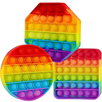 3 Pack Pop Poop Bubble Fidget It Toy Squeeze Sensory Relieve Stress Cheap Figetget Poppop Figit Kid Girl Boy Adult Teen Birthday Gift New Rainbow Square Circle Octagon by Aucma
