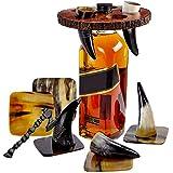 Viking Culture Wikinger Horn Trinkbecher Schnapsgläser mit Vintage Axt Flaschenöffner, Untersetzer und rustikaler Holzständer für Party, Event, Bachelor