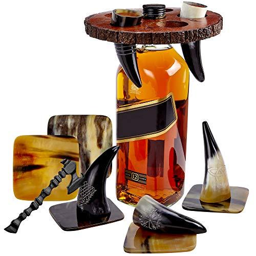 Viking Culture Wikingerhorn Trinkbecher Schnapsgläser mit Vintage-Axt Flaschenöffner, Untersetzer und rustikalem Holzständer, Toastgefäße für Party, Event, Junggesellenabschiede