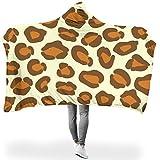 O1FHW-8 Original Hooded Blanket Leopardenkorn Muster Drucken Wearable Fleece Ultra Weich Tragbare Decke Hut Decke - Sexy Passt Mittagsruhe Verwenden White 150x200cm