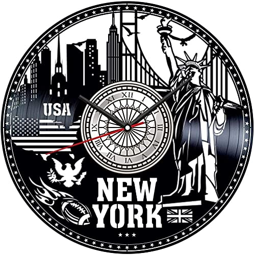 WYDSFWL Reloj de Pared Reloj de Pared con Disco de Vinilo de Nueva York, decoración única para el hogar, Regalo Hecho a Mano para Hombres, Mujeres, Amigos, niños