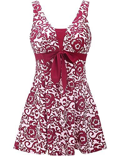 Wantdo Women's Plus Size Swimsuit One-Piece Cute Swimwear Wine Red US 16-18