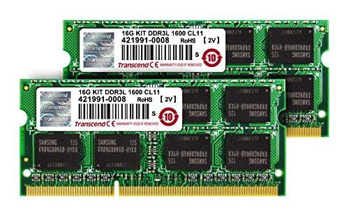 Transcend ノートPC用メモリ PC3L-12800 DDR3L 1600 8GB×2 1.35V(低電圧) – ...
