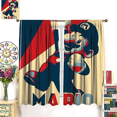 Petpany Super Mario Game Comics - Cortina de impresión tipo barra de desgaste (183 x 160 cm) para cocina y cocina, cortinas de dormitorio