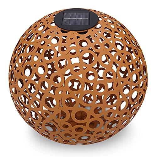 Navaris Farol Solar de jardín - Bola de jardín para Exteriores de 30CM con luz LED cálida y Encendido automático - Esfera Decorativa Color Cobre