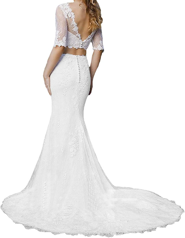P.L.X Lace Two Piece Ladies Garden Wedding Dresses Boho Bridal Gowns