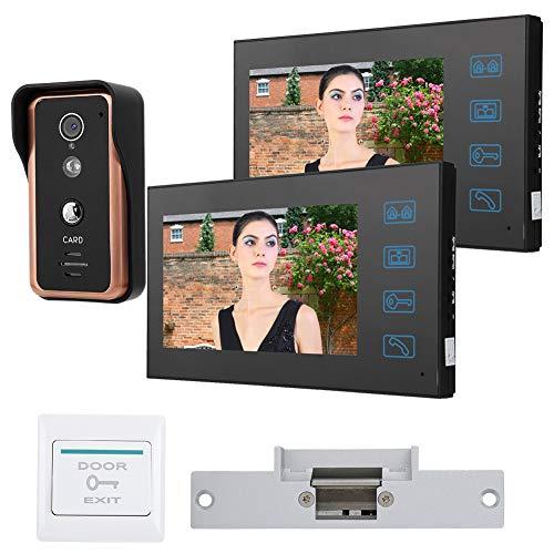 Timbre con Video de 7 Pulgadas y 2 monitores, intercomunicador de Dos vías, Timbre Impermeable, Sistema de Entrada con intercomunicador, videoportero con Cable(EU Plug (100-240v))