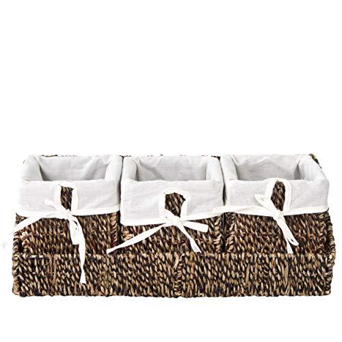 Cesta de mimbre con bandeja para organizar la pared y forros extraíbles (3 cestas de color marrón con bandeja)