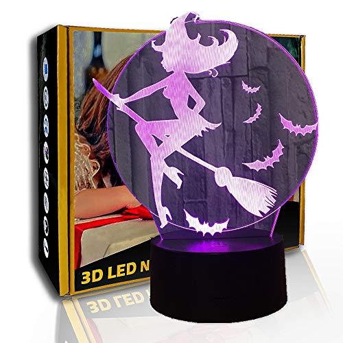KangYD LED Nachtlicht Halloween Fledermaus Hexenbesen, 3D Illusionslampe, C - Berühren Sie Crack White (7 Farben), Illusionslampe, Raumdekoration, Raumbeleuchtung, Modernes Dekor