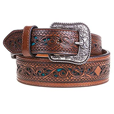 Hooey Mens Western Trenditions Hooey Tapered Scroll Tooling W/Turquoise Inlay 40 Pecan