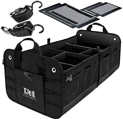 TRUNKCRATEPRO Premium Multi Compartments Collapsible Portable Trunk Organizer for auto, SUV, Truck, Minivan (Black) (ExtraLarge, Black)