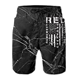 Jiger Remember Everyone Deployed Men's Board/Beach Shorts Casual Classic Swim Trunks XL