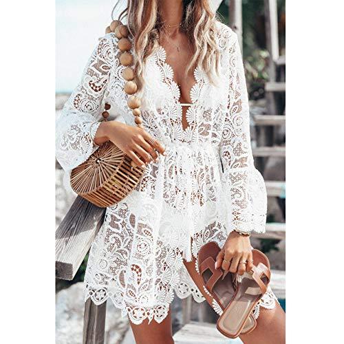 SJIUH Traje de Bikini Summer LaceWomen Sexy Crochet Bikini Cover Up Floral Blanco Negro Traje de baño Traje de Playa Vestido de Verano Tops, Blanco, XL