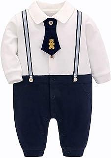 famuka Smoking de bébé garçon baptême Mariage vêtements de bébé Nouveau-né grenouillère
