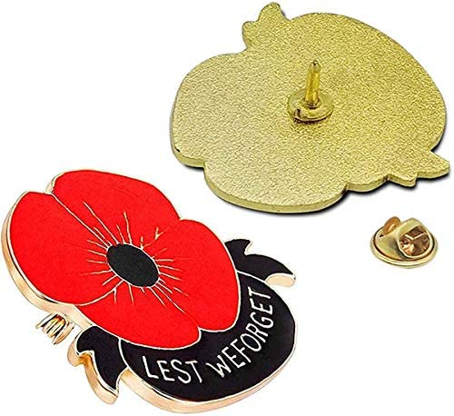 10PCS Red Metal Poppy Flower Pins 1.2inch Lest We Forget Veterans Day Memorial Day Lapel pin Poppy Brooches For Remembrance Day