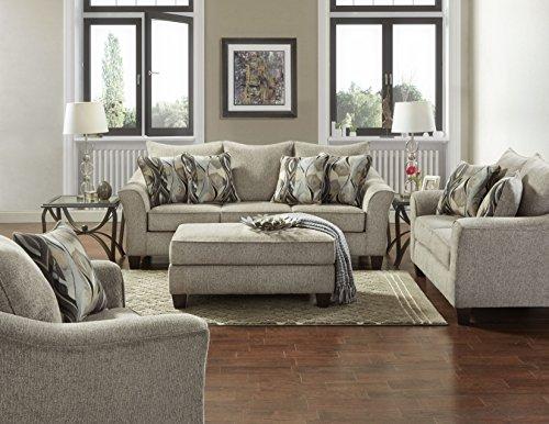 Roundhill Furniture Camero Platinum Fabric ((4 Piece) Living Room Set