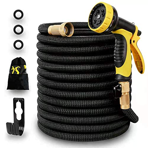Panda Grip [Updated 3750D 100ft Garden Water Hose Expandable and Flexible Strongest Triple Latex Core with 3/4 Solid Brass Fittings 10 Function Spray Nozzle 3750D Fabric for Watering and Cleaning