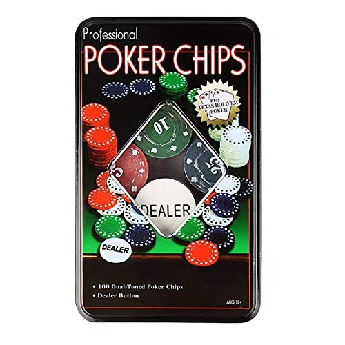 Fashiono Professional Poker Set with 100 Chips with Dealer Button