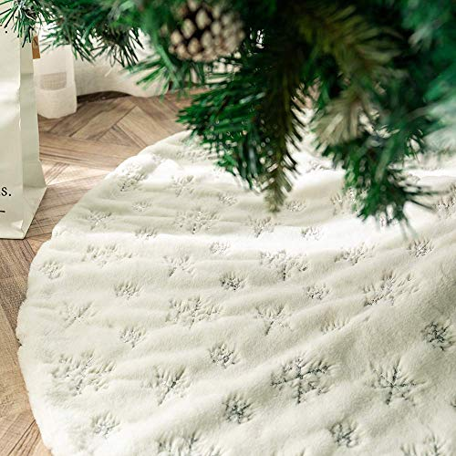 Tenrany Home Reine Weiße Plüsch Weihnachtsbaum Rock, Groß Kunstfell Weihnachtsbaumdecke Christbaumständer Teppich für Weihnachten Neujahr Party Dekoration (Silver, 48 inches)