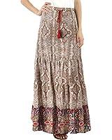 BENANCY Women's Boho Print Elastic Waist Tie-Up A Line Maxi Skirt with Pockets Brown XL