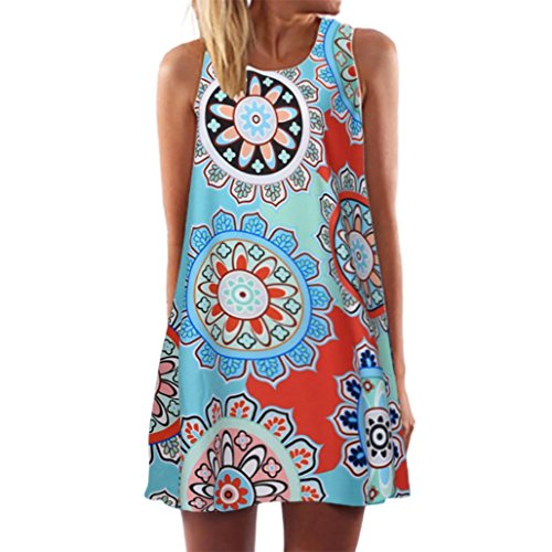 Minikleid,SANFASHION Vintage Boho Frauen Sommer Sleeveless Strand Printed Short Mini Dress