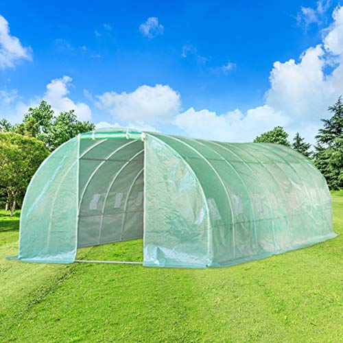 Aoxun 26'x10'x7' Large Walk-in Garden Greenhouse, Hot House Portable for Plants Outdoor in Winter with 6 Roll-Up Windows, Tunnel Greenhouse, Green