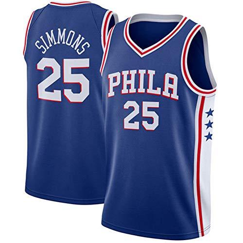 DXG NBA Philadelphia 76ers #25 Ben Simmons Camiseta de Baloncesto de Verano Bordada Transpirable de Secado Rápido Sin Mangas de Malla Deportiva Y Cómoda,Azul,L