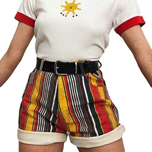 Fainash Shorts rizados a Rayas para Mujer Pantalones Cortos Rectos de Cintura Media básicos a Juego de Colores Sueltos a Juego con Bolsillos XL