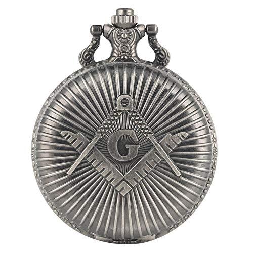 Bronce Masónico Masonería Cromo Cuadrado y Brújula Mason Collar Retro Colgante Reloj de Bolsillo de Cuarzo Los Mejores Regalos para Freemason retrogray