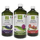 Benessence - Aloe Mix: 1 Succo e Polpa da Bere di Puro Aloe + 1 Aloe e Mirtillo + 1 Aloe e Melograno - 3L