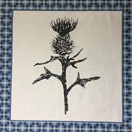 Blue Thistle - Panel de tela de algodón egipcio 100% con diseño de cardo de montaña, 55 cm x 58 cm aprox.