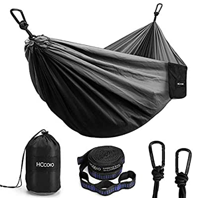 HCcolo Camping Hammock Portable Indoor Outdoor Tree Hammock with 2 Hanging Straps(10FT), Lightweight Nylon Parachute Hammocks for Backpacking, Travel, Beach, Backyard, Hiking- Support 550lbs