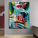 BailongXiao Cool Graffiti Girl Poster Modern Lady Portrait Wall Art Graphic Wall decoración del hogar,Pintura sin marcoCJX1780-60X90cm