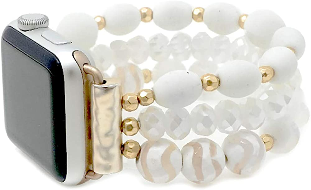 Emulily Compatible with Apple Watch Triple Strand Natural Stone Bead Band 38/40 mm