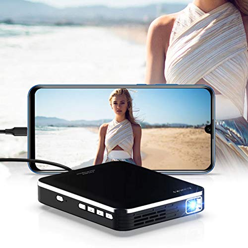 Proyector Nativo, Proyector Wifi Full HD Que Protege Sus Ojos, Brillo Ajustable y Corrección Trapezoidal, Batería Incorporada y Función de Banco de Energía, Compatible con Varios Dispositivos