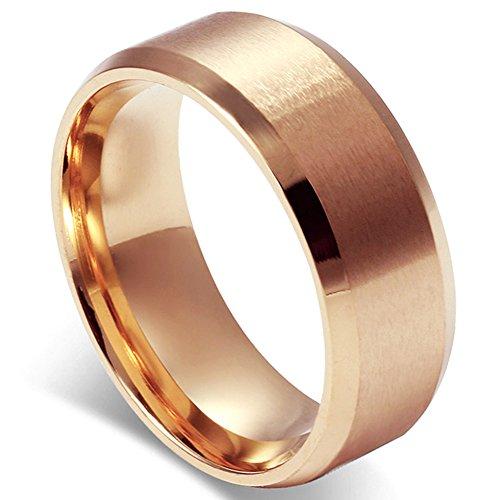 Flongo メンズ指輪 結婚リング ステンレス指輪 シンプル ファション 8MM 愛の証 幸せの鍵 軽量 男の子 プレゼント バレンタインデー クリスマス 記念日 誕生日 ピンクゴールド 「日本サイズ9号」