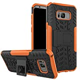 JZ Tire Pattern Funda For para Samsung S8 Plus / S8+ with [Kickstand] Shockproof Scratch-Resistant Back Cover - Orange