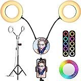 iBesi Dual Ringlicht, 11 Lichtmodi Ringleuchte, 2700-6500K, 2020 Verbessertes 7' /18CM Dimmbares LED-Ringlicht mit Stativ, Telefonhalter und Spiegel für Streaming, Make-up und Selfie-Fotografie