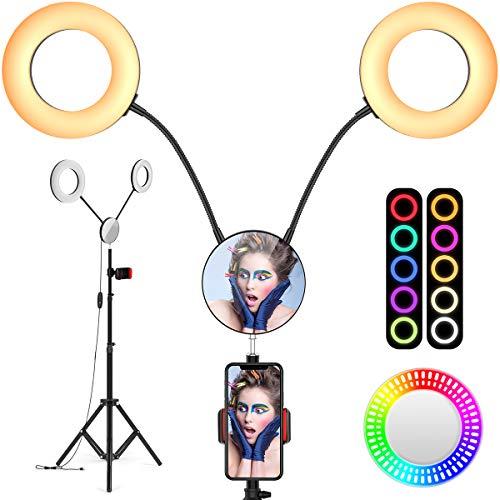 iBesi Dual Ringlicht, 11 Lichtmodi Ringleuchte, 2700-6500K, 2020 Verbessertes 7' /18CM Dimmbares LED-Ringlicht mit Stativ, Telefonhalter und Spiegel für...